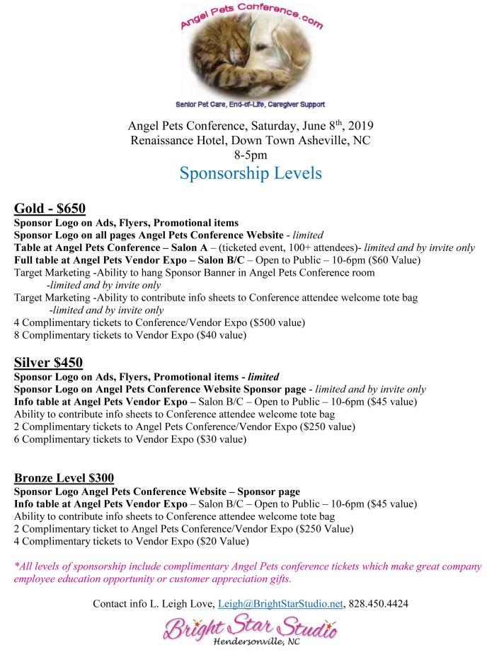 Angel Pets Conference Sponsorship Levels