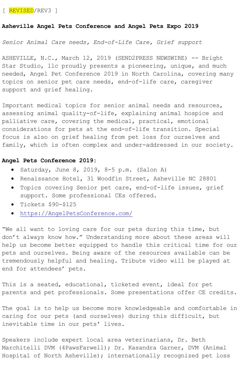 Official Press Release Angel Pets Conference and Angel Pets Expo 2019-1