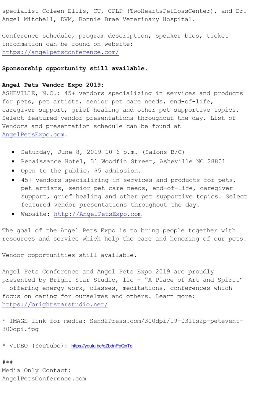 Official Press Release Angel Pets Conference and Angel Pets Expo 2019-2 copy
