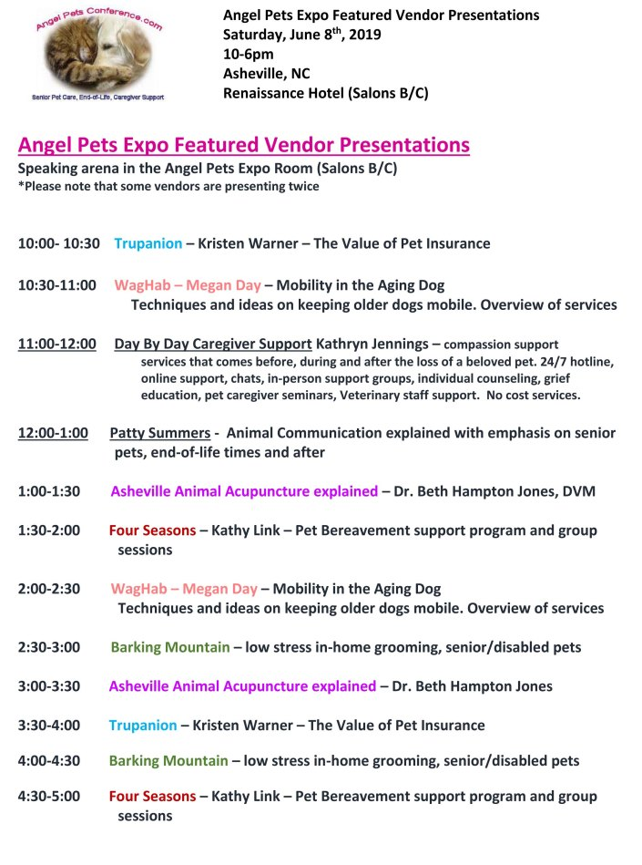 Angel Pets Featured Vendor Presenations 2019