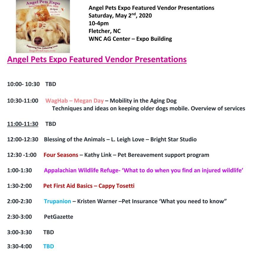 Angel Pets Featured Vendor Presenations 2020